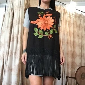 Vintage Embroidered Fringe Tunic